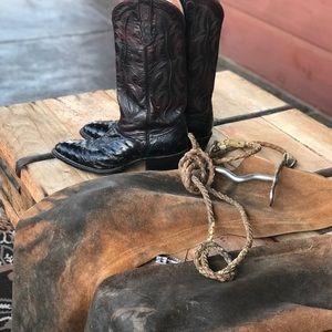 Authentic men's NOCONA Black Cherry Ostrich  boots